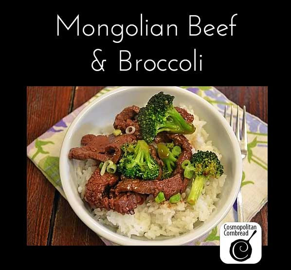 Mongolian Beef and Broccoli is one of my boys' favorites. Make it for your family! Get the recipe at Cosmopolitan Cornbread