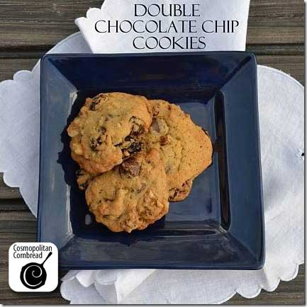 Chocolaty good Double Chocolate Chip Cookies from Cosmopolitan Cornbread