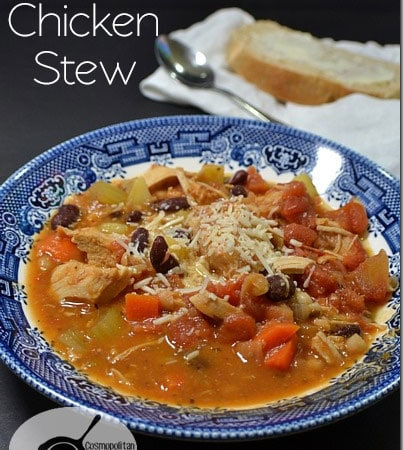 Hearty and delicious Winter Chicken Stew. Get the recipe from Cosmopolitan Cornbread