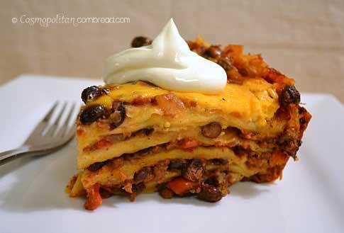 Slow Cooker Mexican Lasagna | Cosmopolitan Cornbread