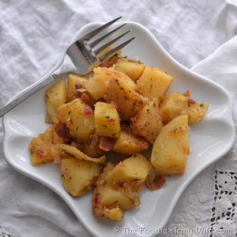 Warm German Potato Salad from The Foodie Army Wife