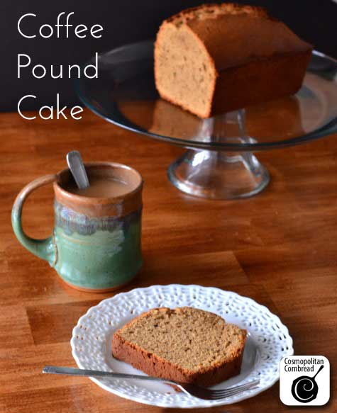 Make this moist and delicious Coffee Pound Cake from Cosmopolitan Cornbread. Perfect for coffee lovers!