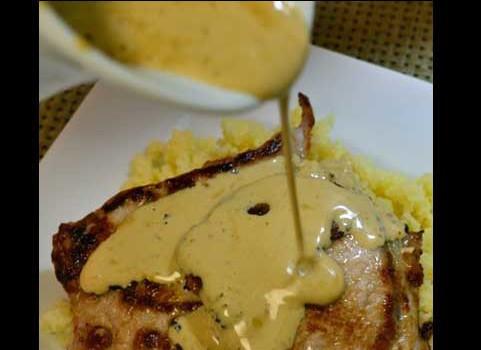 Pan Seared Pork Cutlets with Mustard Cream Gravy