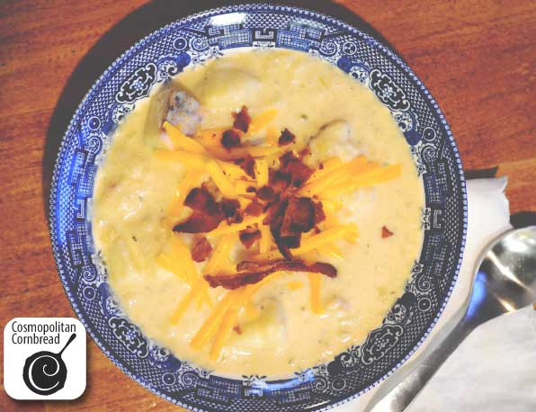 Super thick & rich Loaded Baked Potato Soup is simply the best soup for a cold day. Get the recipe from Cosmopolitan Cornbread