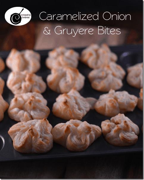 Caramelized Onion & Gruyere Bites | #SundaySupper