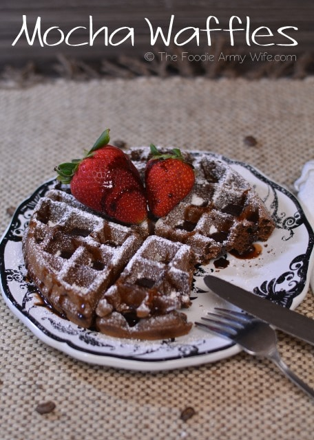 Mocha Waffles from The Foodie Army Wife