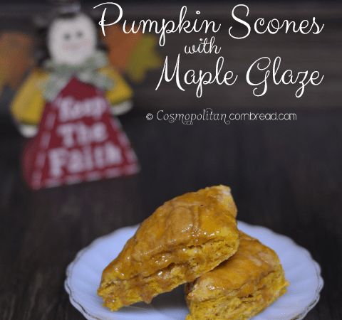 Pumpkin Scones with Maple Glaze from Cosmopolitan Cornbread
