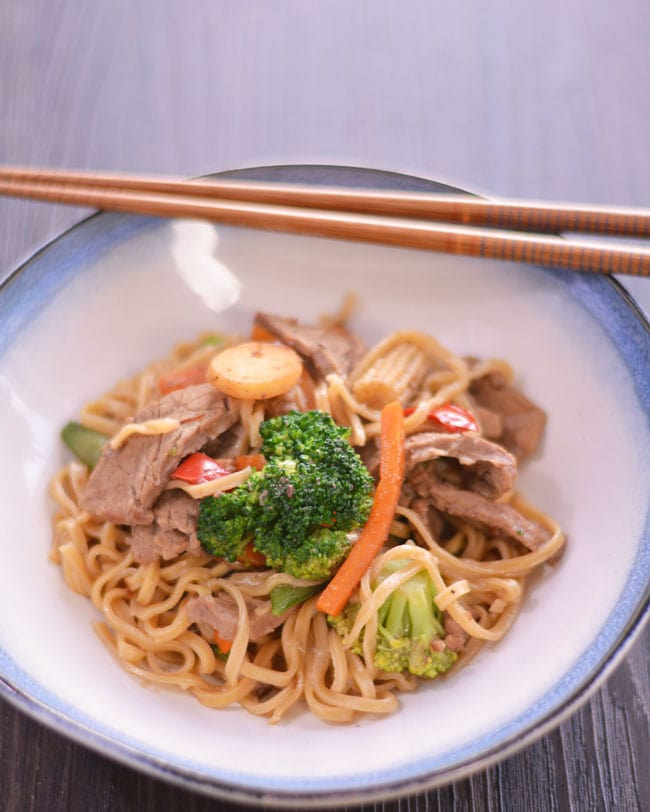 Homemade Beef Lo Mein | #SundaySupper