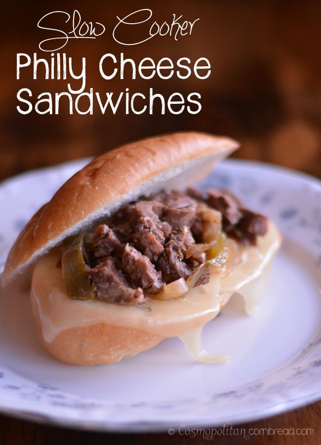 Slow Cooker Philly Cheese Sandwiches from Cosmopolitan Cornbread