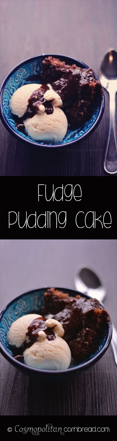 Fudge Pudding Cake from Cosmopolitan Cornbread | This simple recipe creates its own chocolate sauce, right in the pan with the cake!