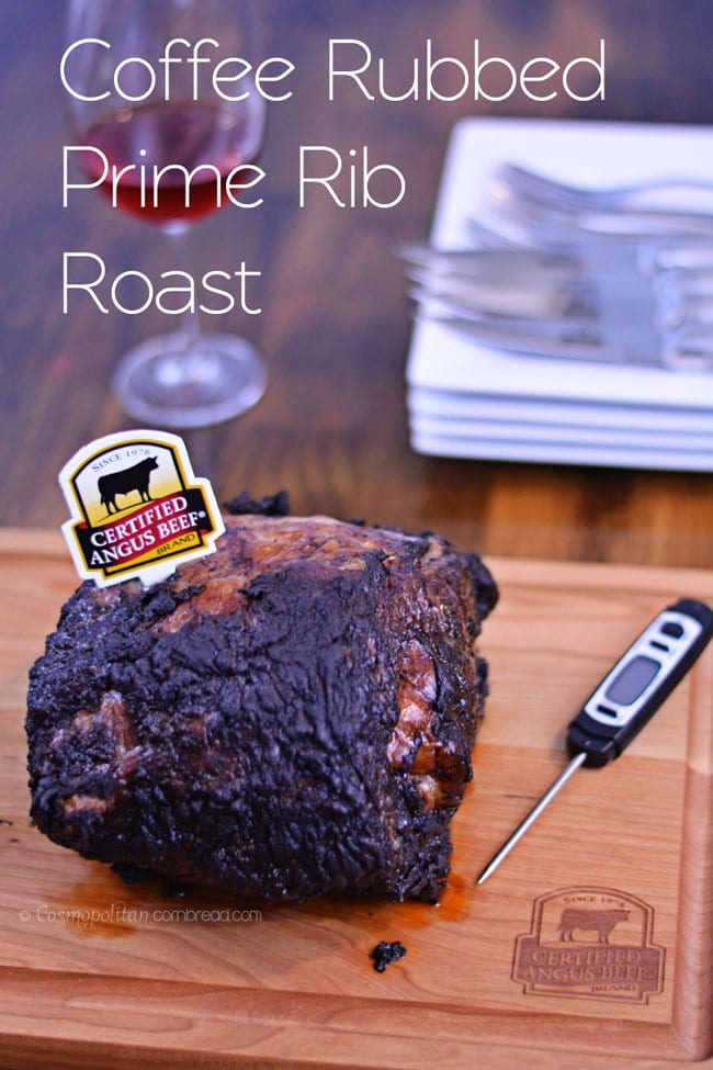 An unbelievable, melt-in-your-mouth Coffee Rubbed Prime Rib Roast from Cosmopolitan Cornbread