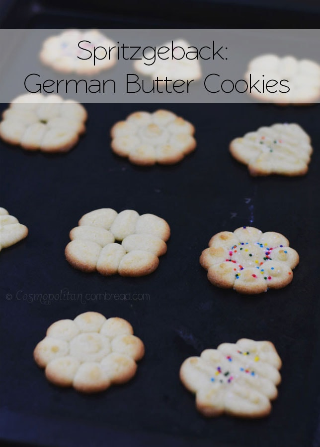 "Spritzgebäck - or ""Spritz Cookies"" are wonderful little German butter cookies. The recipe is simple, but you can have some creative fun with these and suit them for any special occasion. Get the recipe from Cosmopolitan Cornbread"