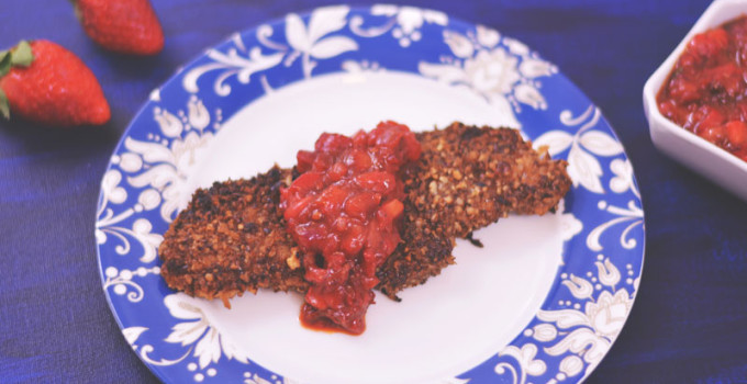 Pecan Crusted Chicken with Strawberry Chipotle Salsa   #FLStrawberry #SundaySupper