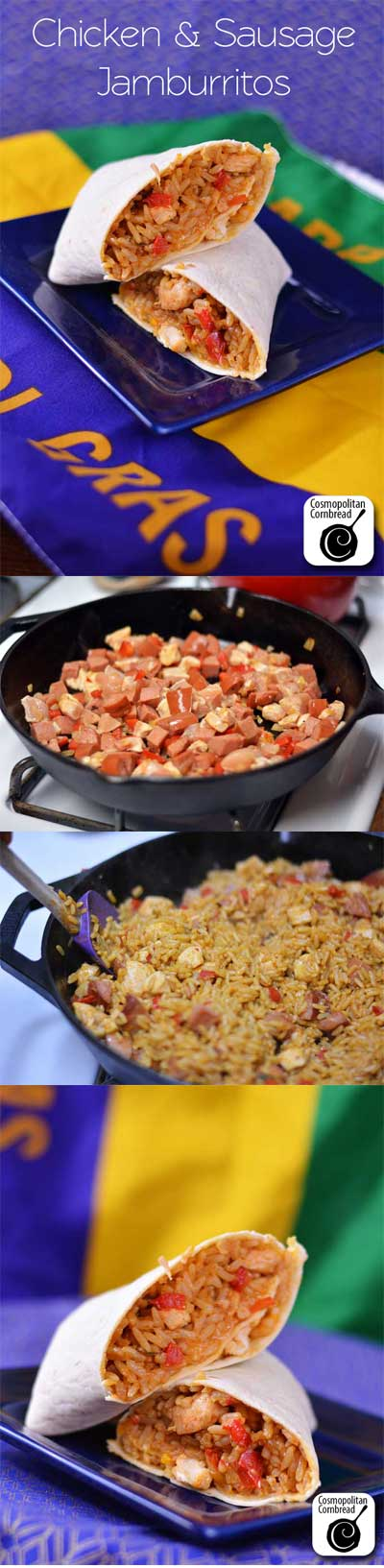 "Chicken and Sausage ""Jamburittos"" have all the flavor of jambalaya in an easy-to-eat-on-the-go package. Get the recipe from Cosmopolitan Cornbread"