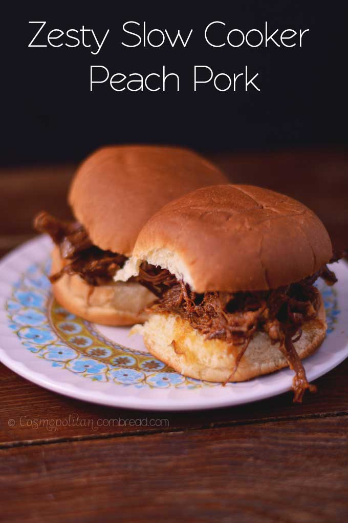 Zesty Slow Cooker Peach Pork | Get the recipe from Cosmopolitan Cornbread