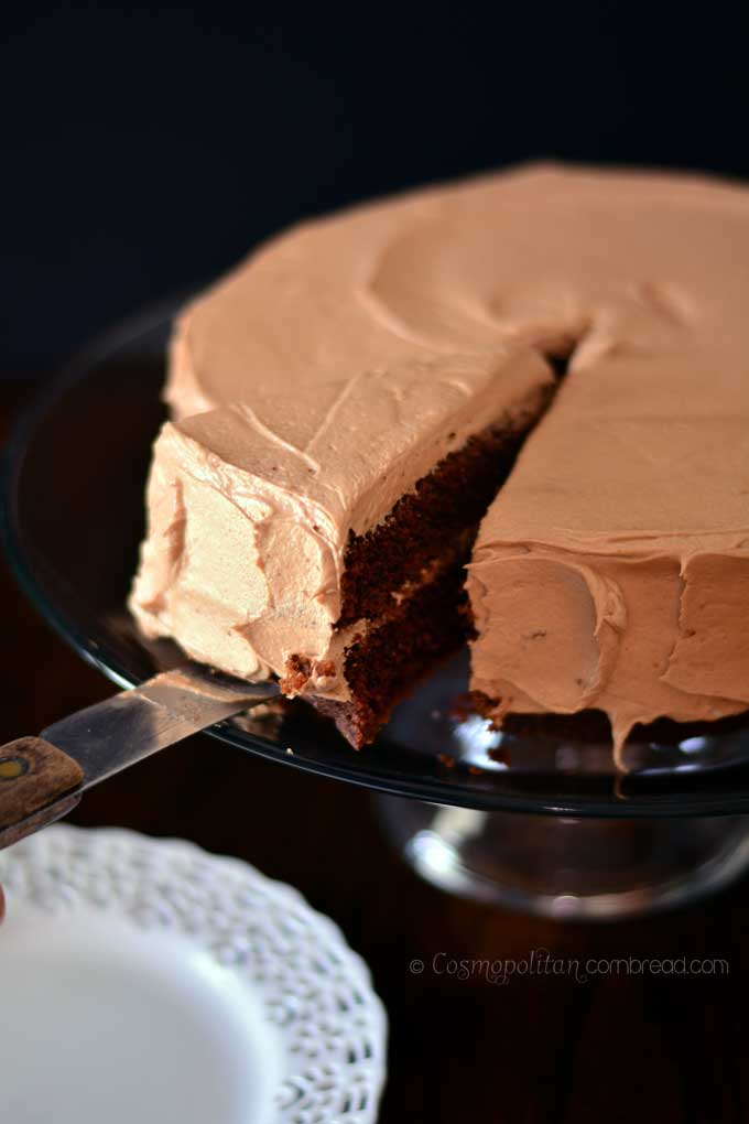 Rich Mocha Cake with Mocha Rum Icing - a Coffee Lover's Dream Cake! Get the recipe from Cosmopolitan Cornbread