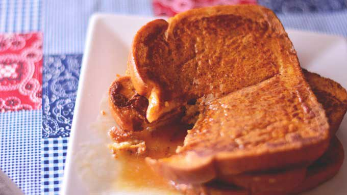 Pumpkin French Toast - if the name doesn't have you drooling, you don't have a pulse! Get the recipe for this autumnal dish from Cosmopolitan Cornbread