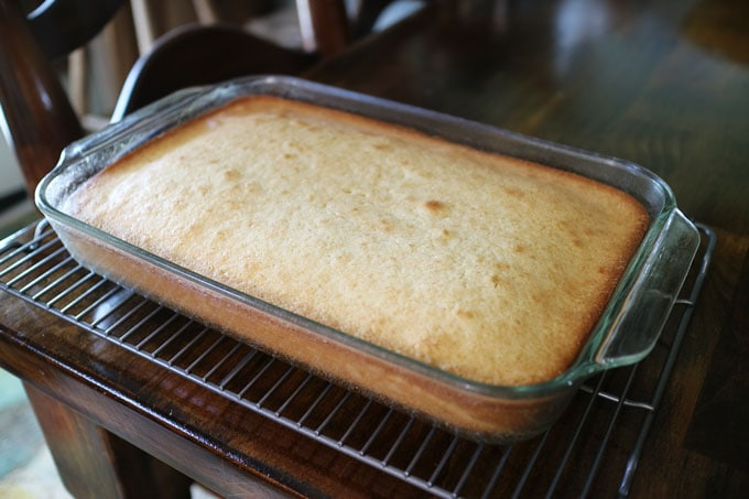 Classic and delicious Coconut Sheet Cake | Get the recipe from Cosmopolitan Cornbread