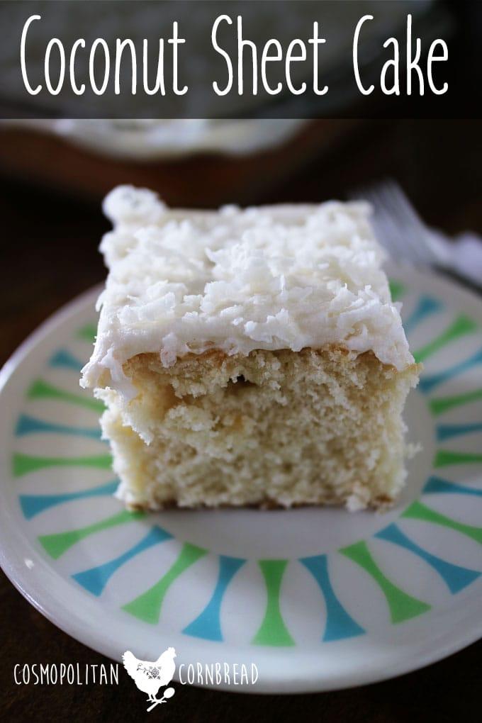 Classic and delicious Coconut Sheet Cake | Get the recipe from Cosmopolitan Cornbread