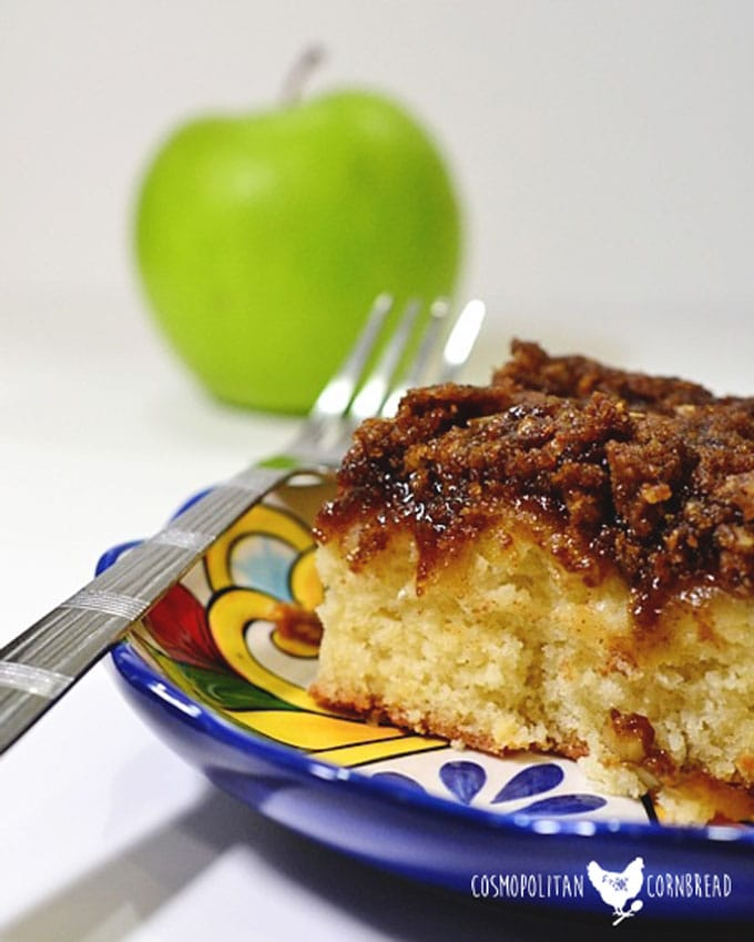 Moist Coffee Cake with the scrumptious flavor of apple. You'll love starting your morning like this. Get this Apple Coffee Cake recipe from Cosmopolitan Cornbread.
