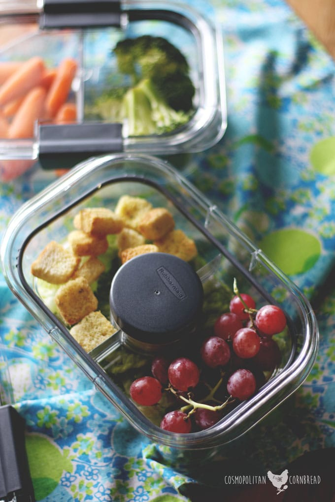 Homemade Creamy Vinaigrette & Taking your snacks or lunch on the go with the Rubbermaid BRILLIANCESalad & Snack Set | Cosmopolitan Cornbread