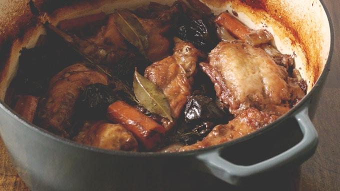 Boozy Bacon Stewed Rabbit