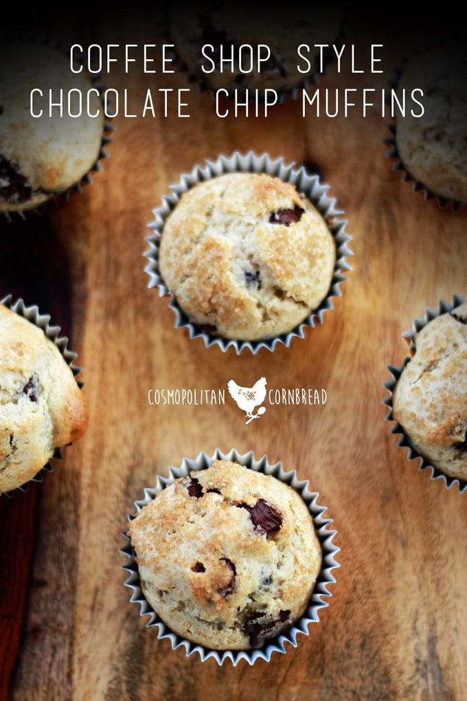 Coffee Shop Style Chocolate Chip Muffins | Fluffy and moist muffins with a sprinkling of crunchy sugar. Get the recipe from Cosmopolitan Cornbread