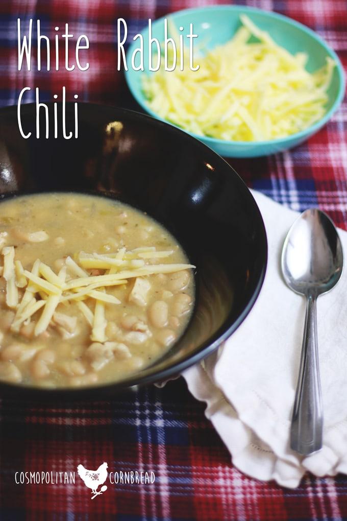 White Rabbit Chili - A creamy and delicious winter soup, one that your family will love. | Cosmopolitan Cornbread