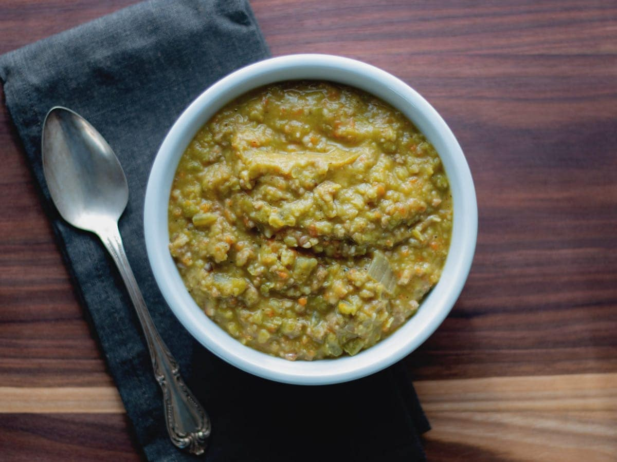 "Hearty Split Pea Soup is a very thick and rich soup, great for cooler weather, and very ""stick-to-your-ribs."" It is wonderful served with a nice crusty bread."
