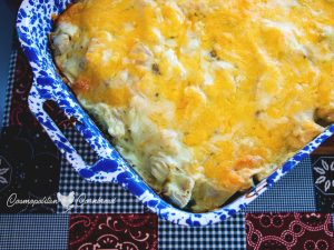 Chicken Tortilla Bake - A fun dish full of creamy flavor. This is a family favorite and a great pot luck dish too!