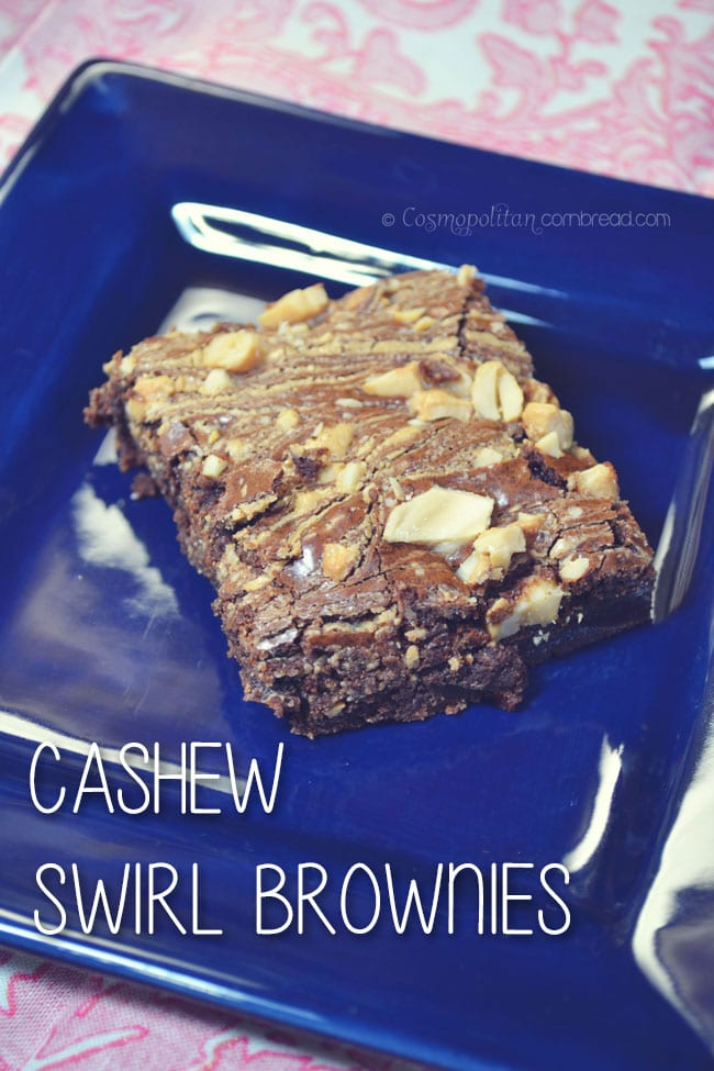 Moist, chewy brownies, swirled with cashew.