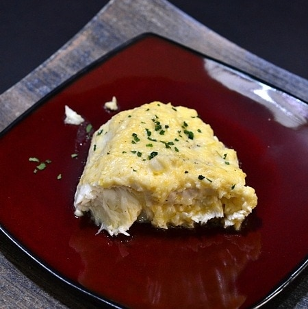 Simple broiled halibut with a creamy topping.