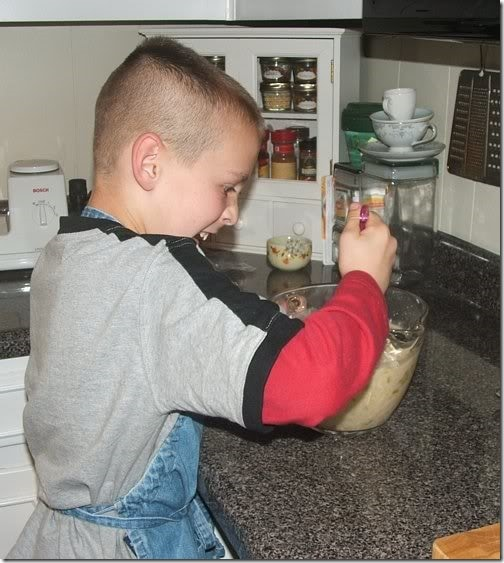 Jack making chicken tortilla bake