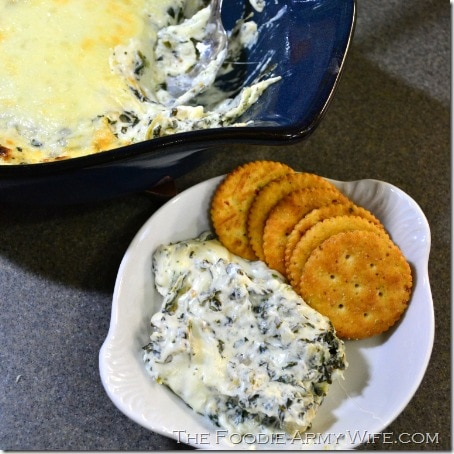 Hot Artichoke & Spinach Dip from The Foodie Army Wife