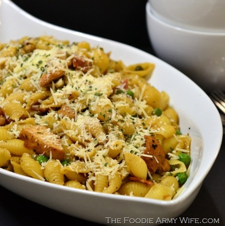 A Quick Shells & Chicken with Pancetta Dinner