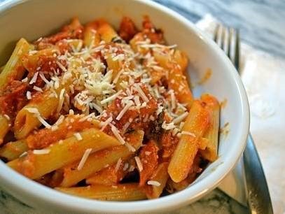 Vodka Penne Pasta - This easy dinner is a favorite meatless meal. Creamy pasta with just a little kick.