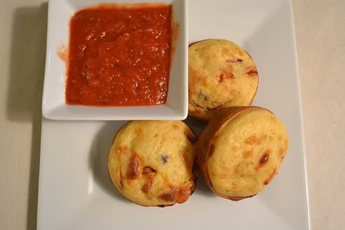 Fun and kid friendly pepperoni pizza muffins with pizza sauce for dipping.