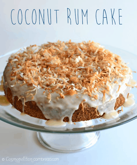 A rich yellow cake, a rum & coconut cream bath and rum-coconut glaze topped with toasted coconut.