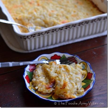 Cheesy Hash Brown Casserole from The Foodie Army Wife