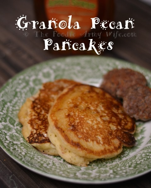 Fluffy pancakes laden with granola and pecans