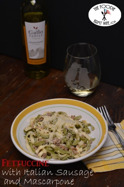 Fettuccine with Italian Sausage and Mascarpone from The Foodie Army Wife