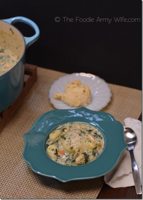 Chicken Gnocchi Soup with Garlic Drop Biscuits2