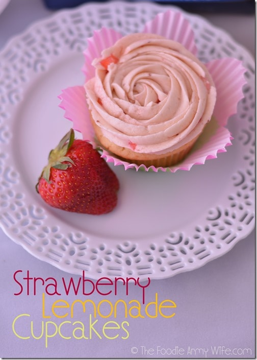 Strawberry Lemonade Cupcakes from The Foodie Army Wife| #SundaySupper