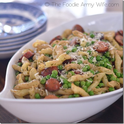 Pesto Pasta with Chicken Sausage from The Foodie Army Wife