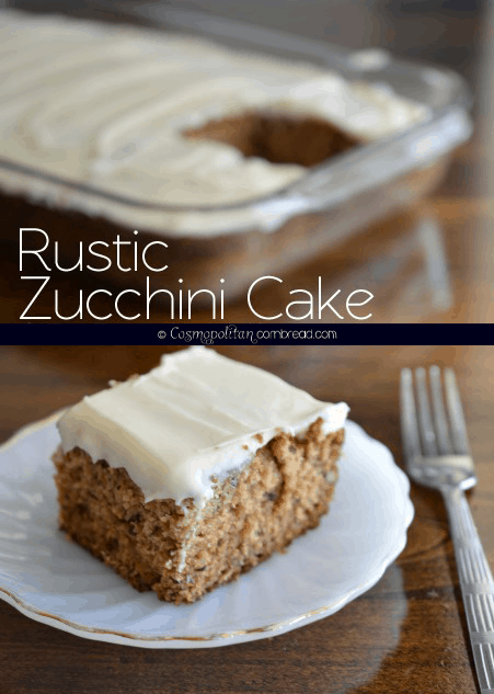 Rustic Zucchini cake is and unpretentious, moist and flavorful, lightly sweet cake topped with dreamy cream cheese frosting.