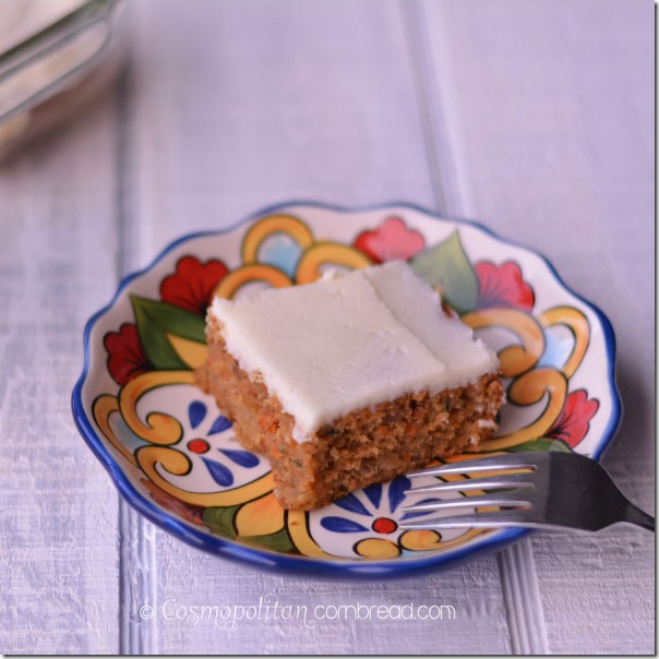The perfect snack cake for your family - Zucchini Carrot Snack Cake. Get the recipe from Cosmopolitan Cornbread.