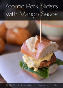 Atomic Pork Sliders with Mango Sauce from The Foodie Army Wife | TheFoodieArmyWife.com