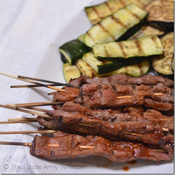 Beef Skewers with Grilled Vegetables from The Foodie Army Wife | Cosmopolitancornbread.com