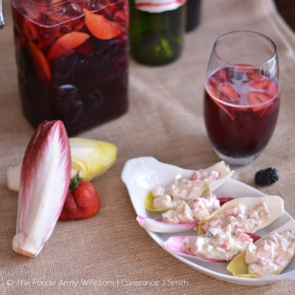 Berry Sangria and Strawberry Chicken Salad in Endive Boats