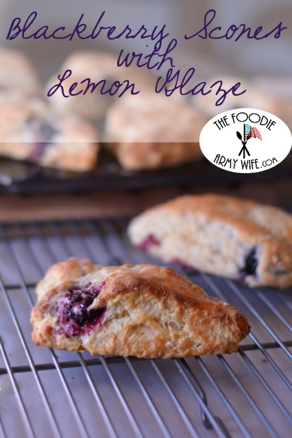 Blackberry Scones with Lemon Glaze from The Foodie Army Wife